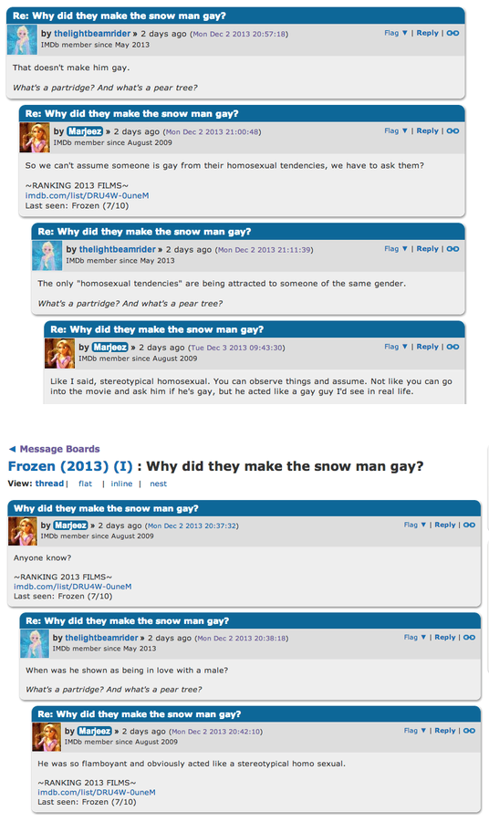 Forum discussion: Is Olaf from Frozen gay