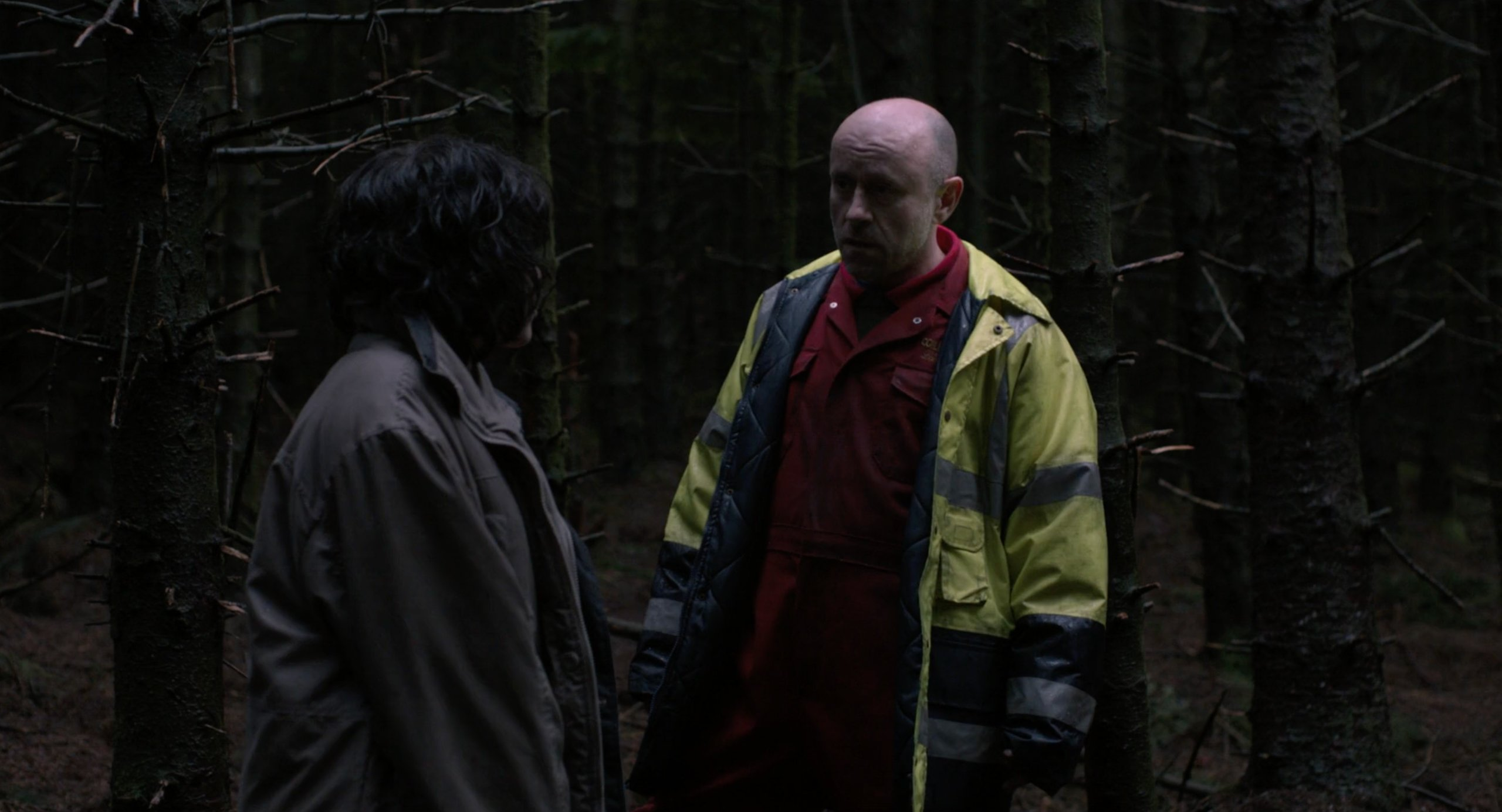 Scarlett Johansson talks to the logger in the forest in Under the Skin