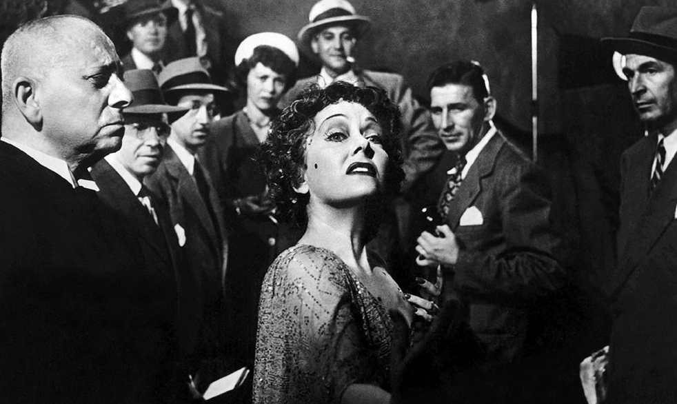 Norma Desmond walks towards the camera at the end of Sunset Boulevard
