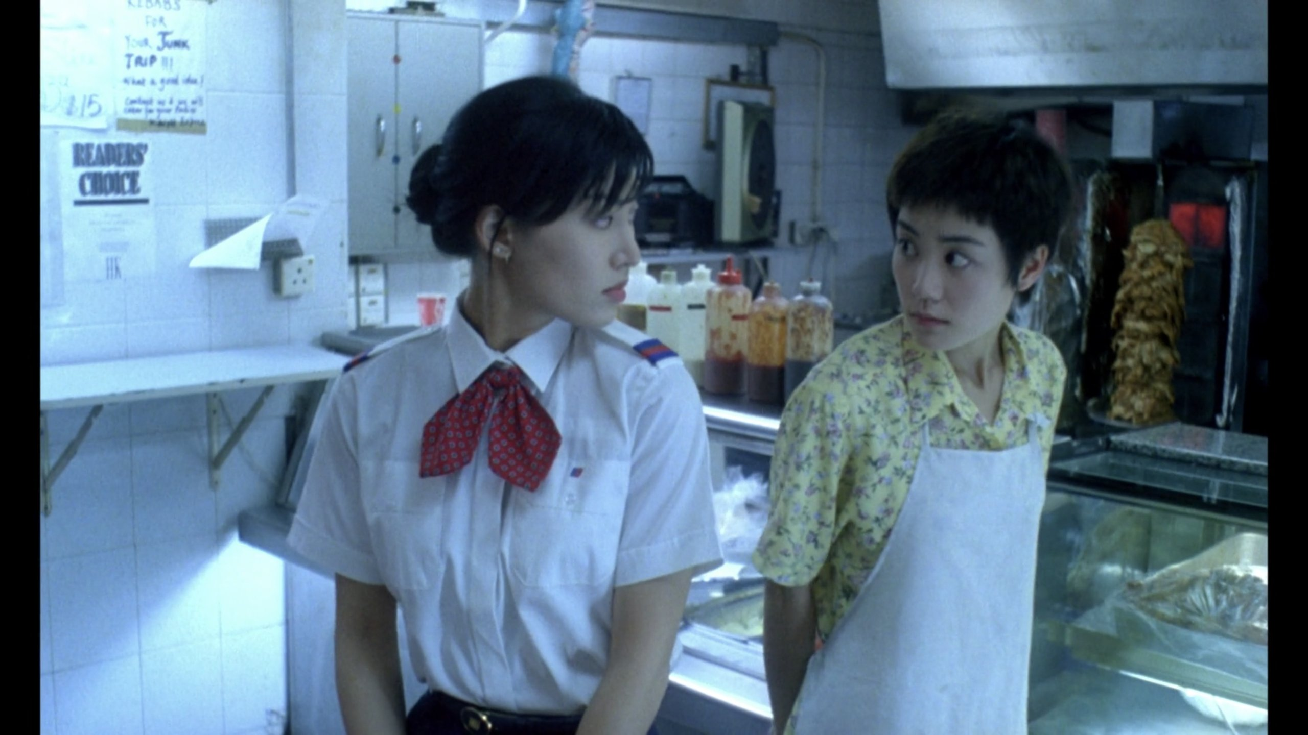 Faye stares at the stewardess in Chungking Express
