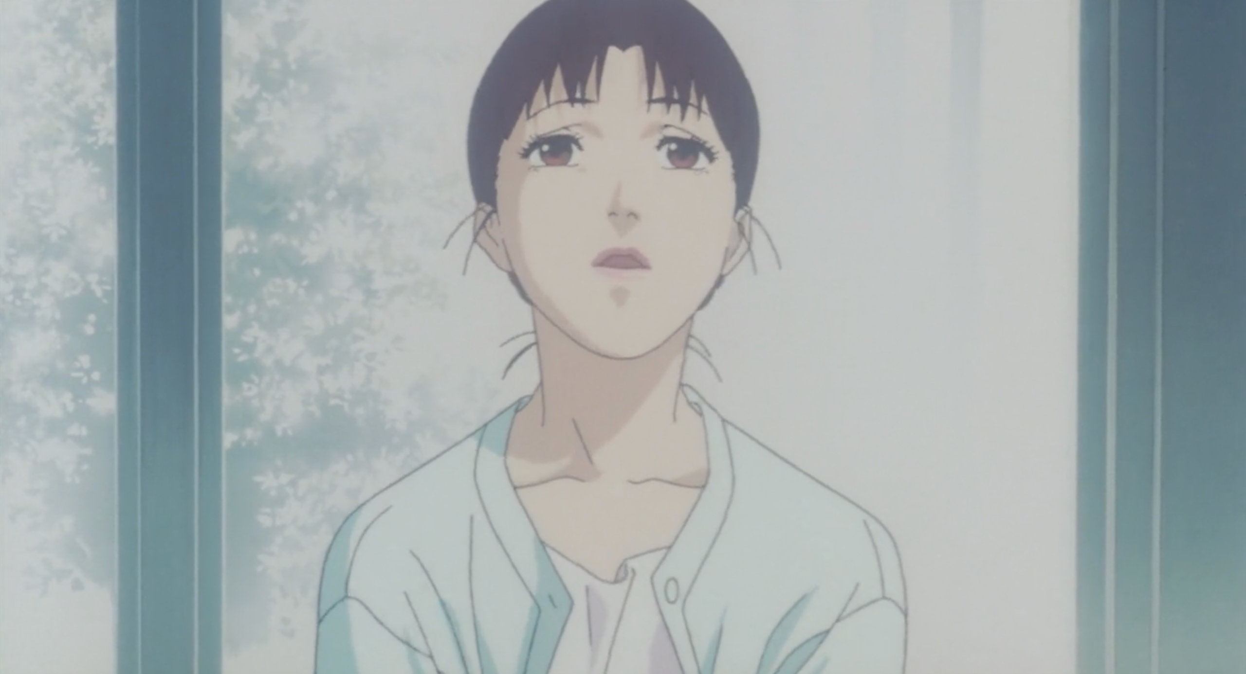 Mima looks up at the lights during a Dbouel Bind shoot in Perfect Blue