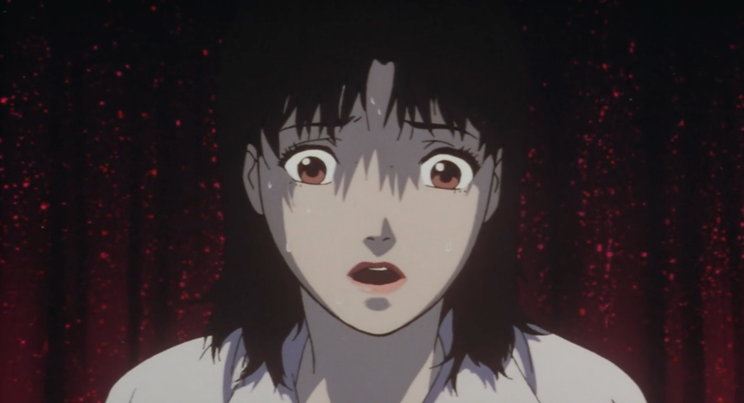 Mima stares at Me-Mania in horror in Perfect Blue