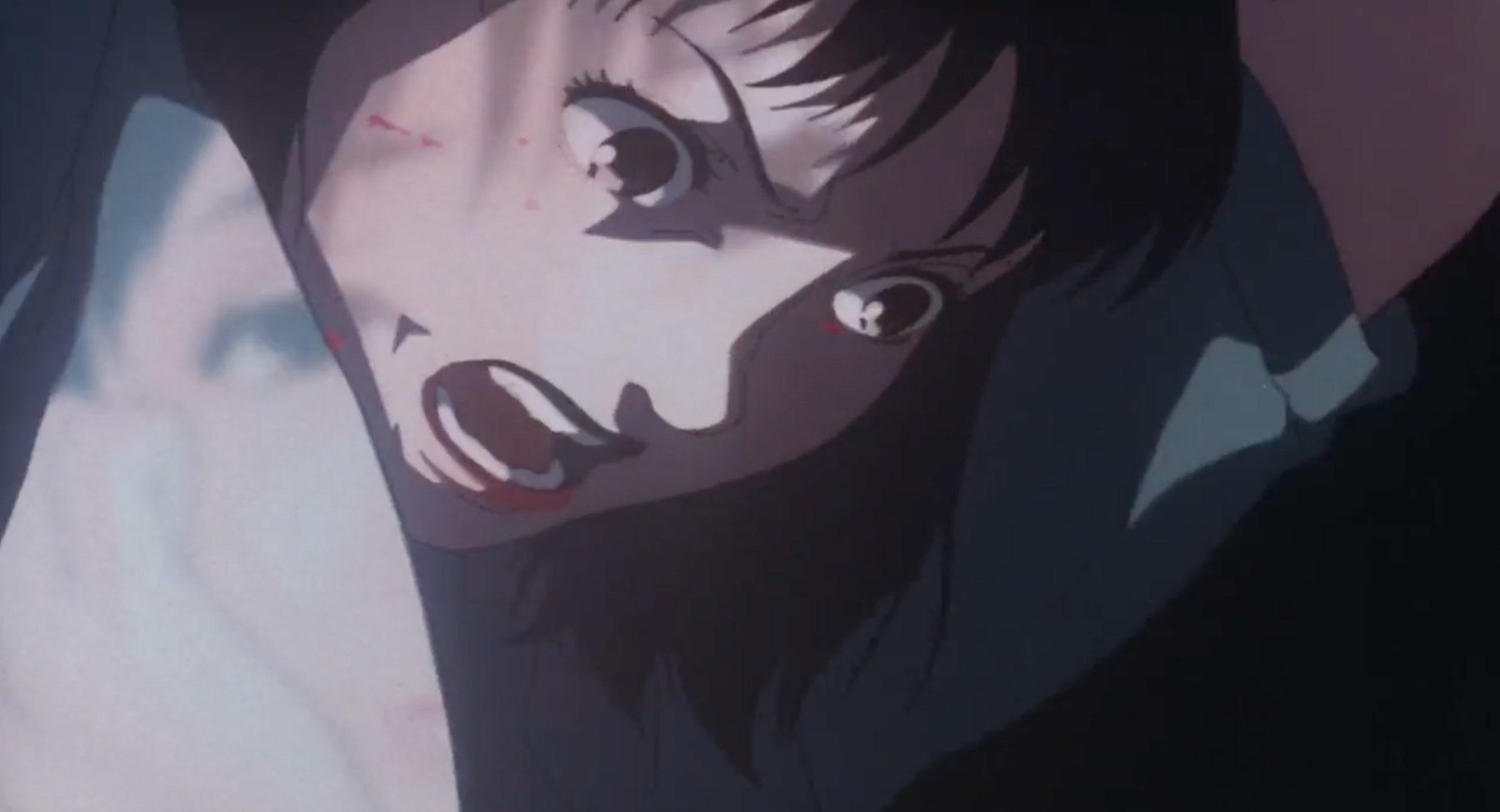 Rumi dressed as Mima stabs the photographer in Perfect Blue