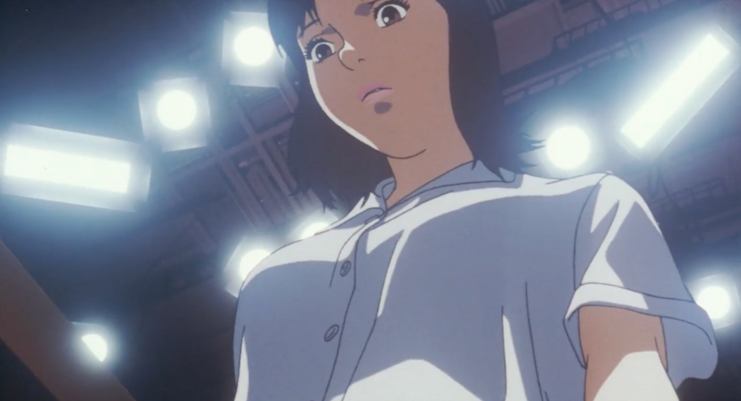 Mima breathes heavily during a Double Bind shoot in Perfect Blue