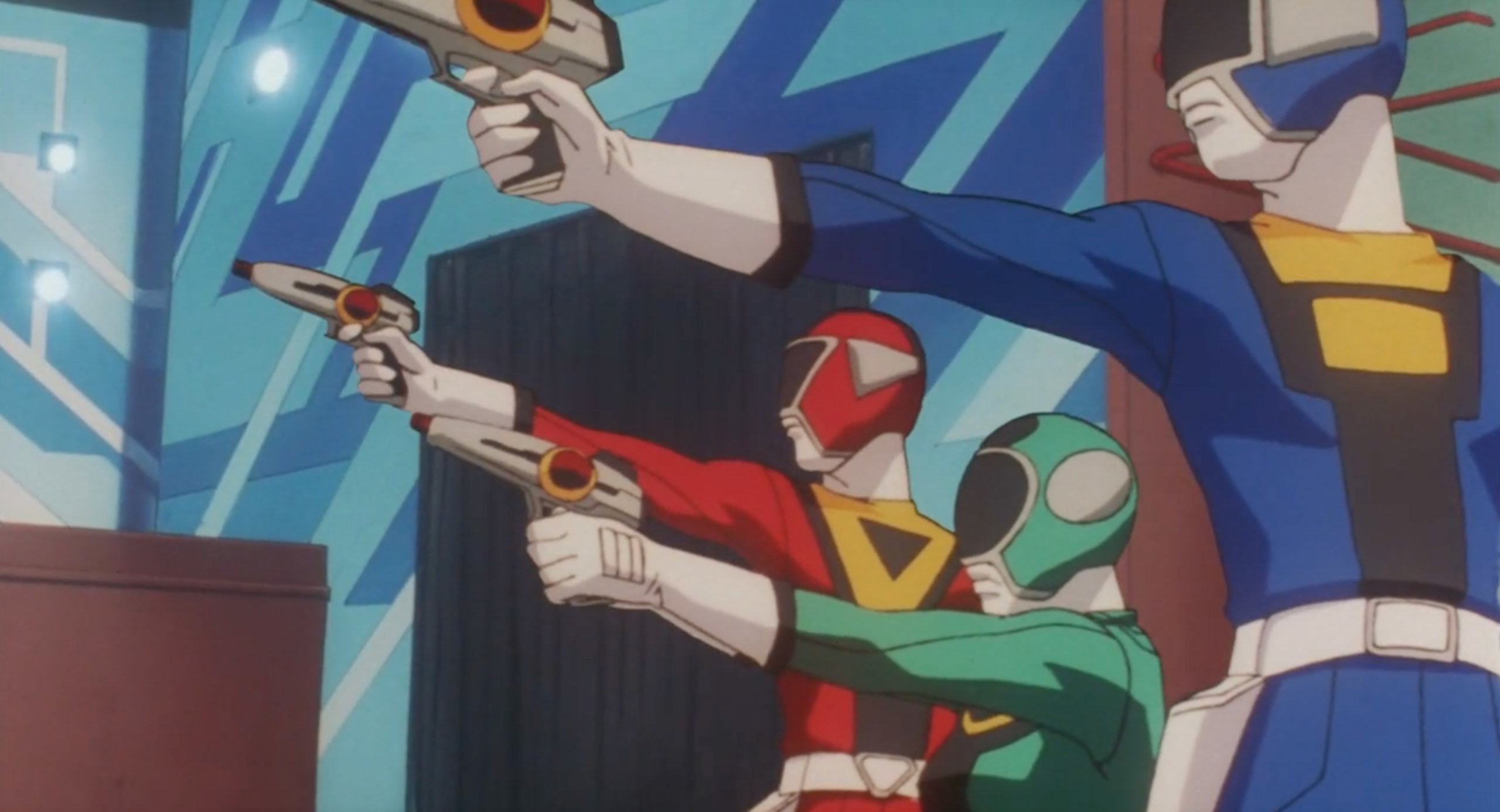 The Powertrons fire their laser guns in the opening scene of Perfect Blue