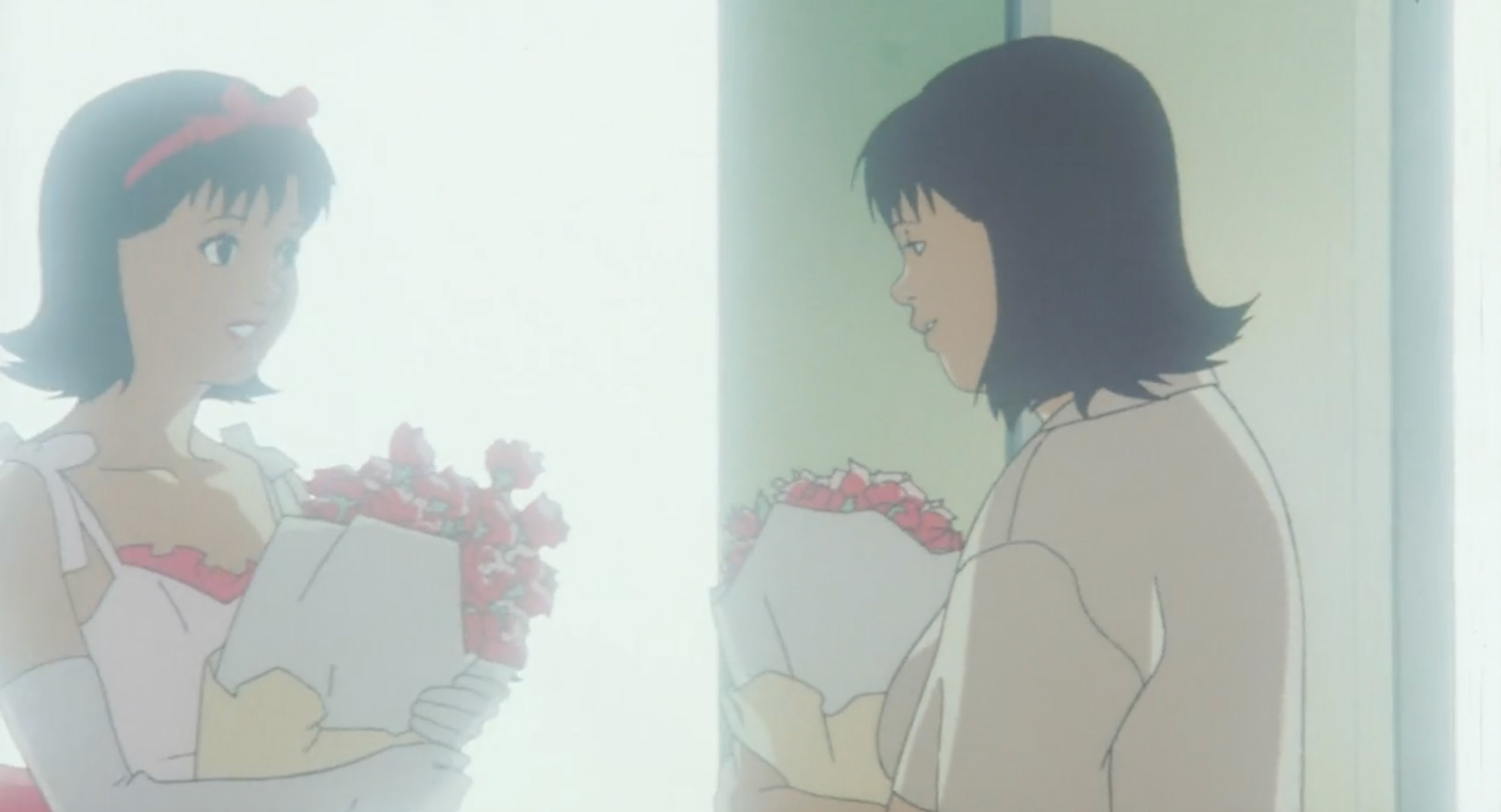 Rumi looks into the mirror at a mental hospital and sees Mima in Perfect Blue