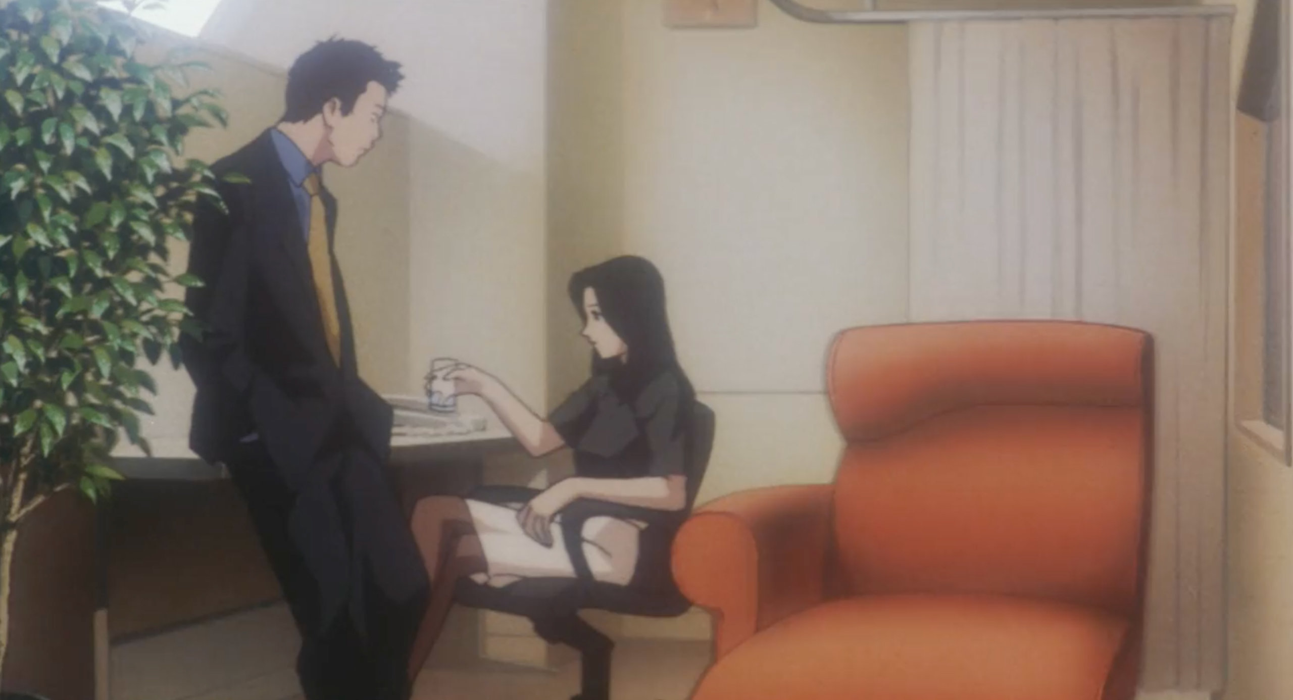 Dr. Asamiya and Detective Yamashiro discuss the serial killer on the show Double Bind in Perfect Blue