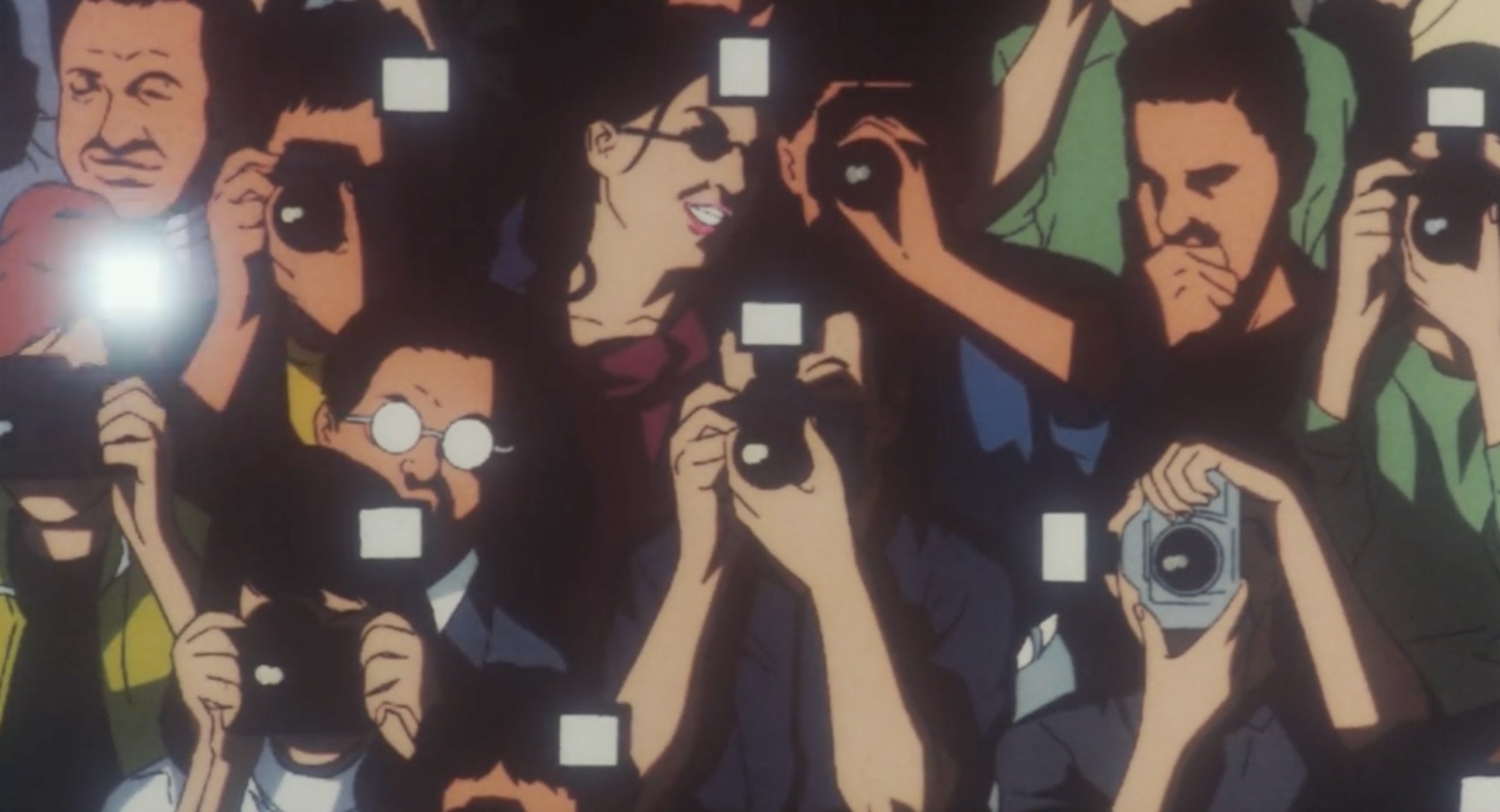 A crowd of photographers at a model show in Double Bind in Perfect Blue