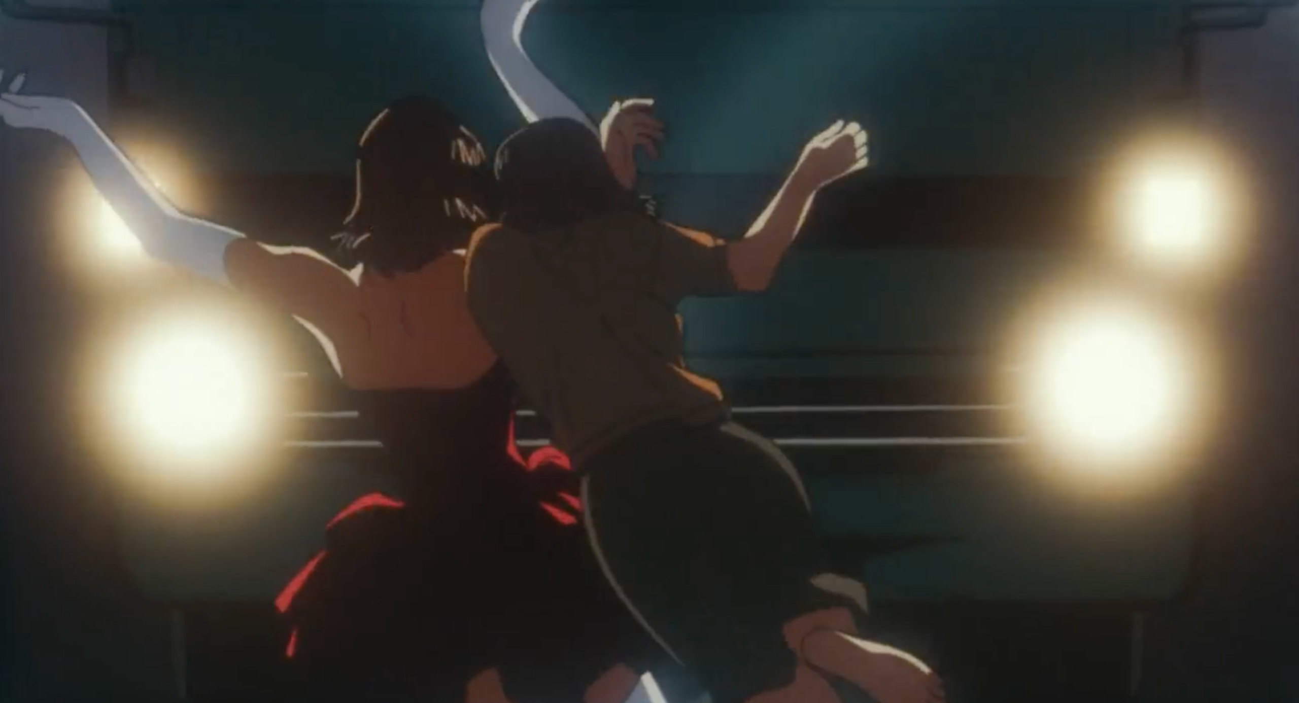 Mima pushes Rumi out of the way of an oncoming truck in Perfect Blue
